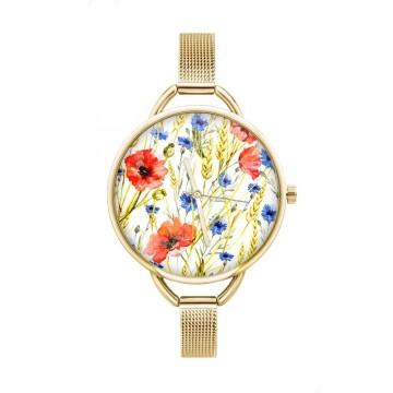 folkowy zegarek z kwiatami i złotą bransoletą