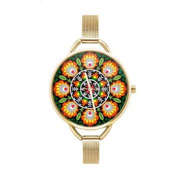 zegarek łowicka wycinanka ze złotą bransoletką