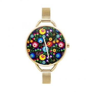 folkowy zegarek z kwiatami ludowymi i złotą bransoletką