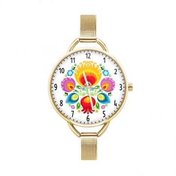 zegarek ludowe kwiaty ze złotą bransoletą folk