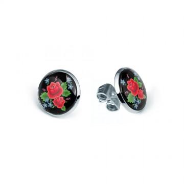 kolczyki z ludową róża mini sztyfty