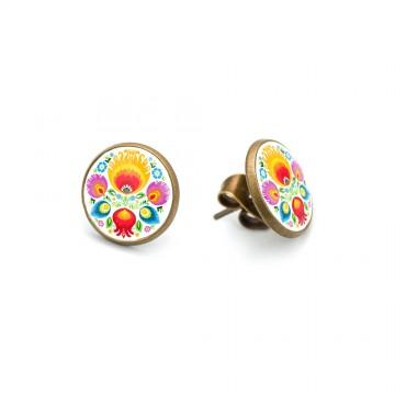 ludowe kolczyki łowicz kwiaty mini sztyfty