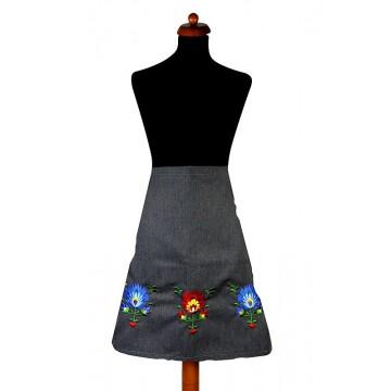 ludowa zapaska - fartuch z łowickim haftem kwiatowym