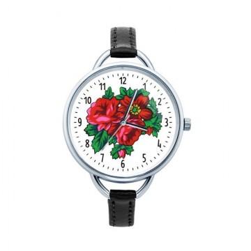 ludowy zegarek  z kwiatami na cienkim pasku