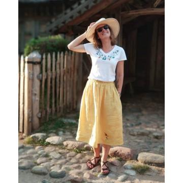 lniana spódnica żołta z ludowym haftem kaszubskim
