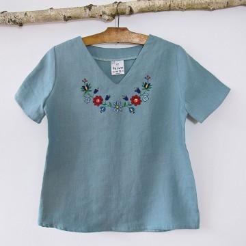 Bluzka lniana z haftem turkus