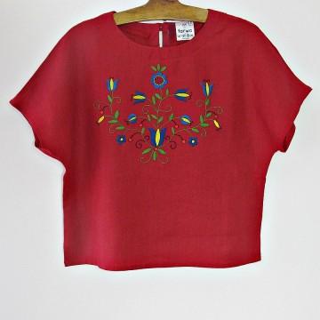 Bluzka len z haftem czerwień