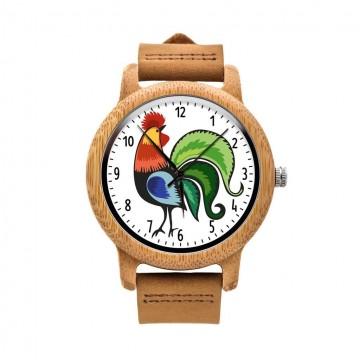drewniany zegarek z ludowym kogutem łowickim