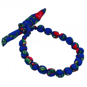 ludowe niebieskie korale z materiałem góralskim folk