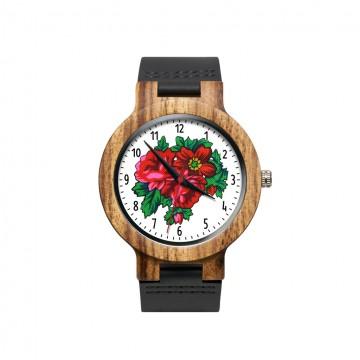 Drewniany zegarek ludowa roża