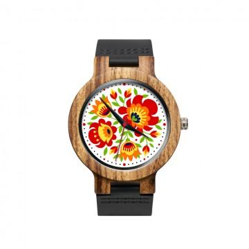drewniany zegarek z kwiatami wiosenny folk