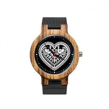 drewniany zegarek z ludowym motywem kurpiowskich wycinanek