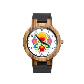 drewniany zegarek z ludowym kwiatem