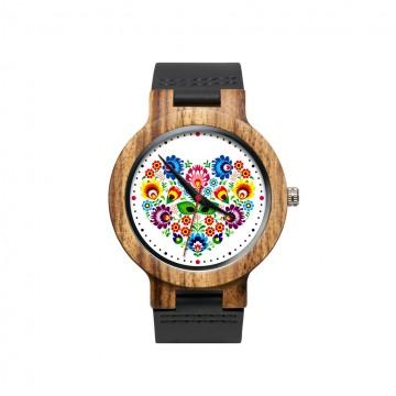 drewniany zegarek na rękę z kwiatami ludowymi w formie serca