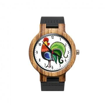 drewniany zegarek na rękę z ludowym łowickim kogutem