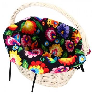 folkowy wkład do koszyka rowerowego kwiaty łowickie