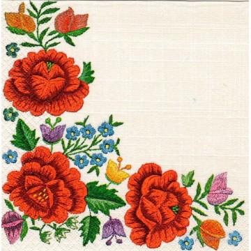 papierowe serwetki z kwiatowym wzorem ludowego haftu