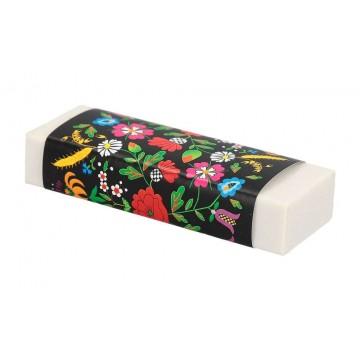 folkowa gumka do ścierania kwiaty kociewskie czarna