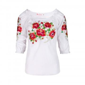 ludowa bluzka z haftem kwiatowym róże