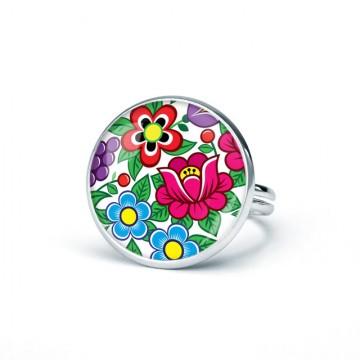 folkowy pierścionek z kwiatami zalipie