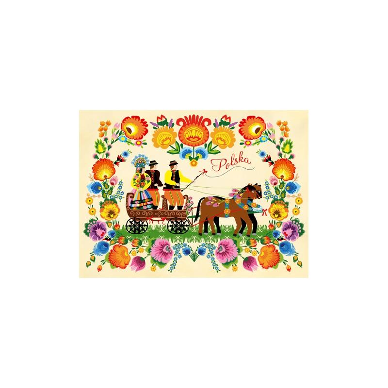 kartka ludowe wesele pocztówka